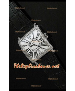 Franck Muller Master Square Reloj con Correa Negra y Esfera Blanca