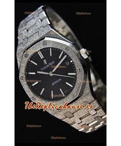 Audemars Piguet Royal Oak Frosted Reloj Réplica a Espejo 1:1 Oro Blanco de Cuerda Automática Dial Negro