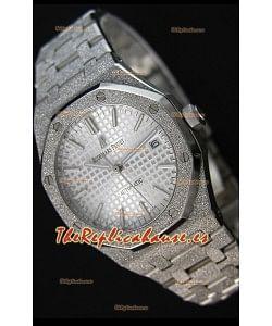 Audemars Piguet Royal Oak Frosted Reloj Réplica a Espejo 1:1 Oro Blanco de Cuerda Automática Dial Blanco