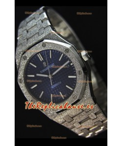 Audemars Piguet Royal Oak Frosted Self-Winding Reloj Réplica a espejo 1:1 con Dial en Oro Blanco color Azul