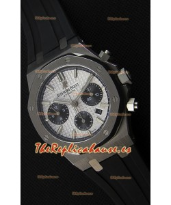 Audemars Piguet Royal Oak Reloj Réplica Suizo Cronógrafo Dial Blanco Correa de Goma