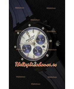 Audemars Piguet Royal Oak Reloj Réplica Suizo Cronógrafo Dial Plateado Subdiales color Azul