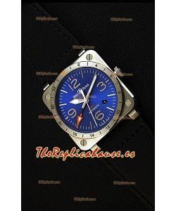 Bell & Ross BR03-93 GMT Reloj Réplica Suizo de Acero a espejo 1:1 Edición 42MM Dial Azul
