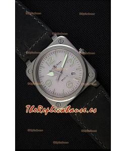 Bell & Ross BR03-92 Horolum Reloj Réplica Suizo a Espejo 1:1 Dial Gris Correa de Piel