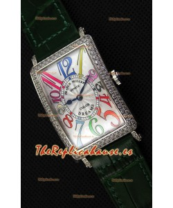 Franck Muller Long Island Color Dreams Ladies Reloj Réplica Suizo - Correa color Verde