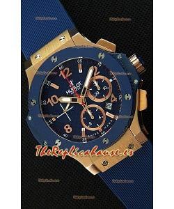 Hublot Big Bang Reloj Réplica Suizo Caja en Oro Rosado color Azul Réplica a Espejo 1:1
