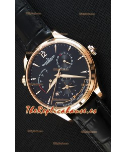 Jaeger LeCoultre Master Geographic Indicador de Reserva de Energía Reloj Réplica Suizo Oro Rosado Dial Negro