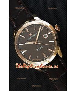 Jaeger LeCoultre Geophysic True Second Reloj Réplica Suizo en Oro Rosado Dial en color Marron