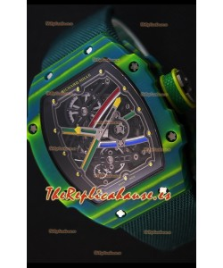 Richard Mille 67-02 Wayde Van Niekerk Reloj Réplica Suizo de Carbón Forjado