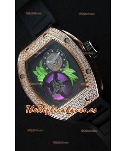 Richard Mille 19-02 Tourbillon Fleur Reloj Réplica Suizo en Oro Rosado