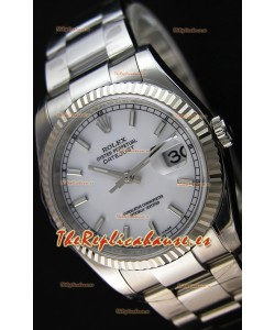 Rolex Datejust 36MM Cal.3135 Movement Reloj Réplica Suizo Dial Blanco Oyster Strap - Ultimate 904L Steel Watch
