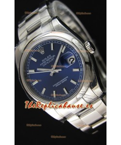 Rolex Datejust 36MM Cal.3135 Reloj Réplica con Movimiento Suizo Dial Azul Correa tipo Ostra - Último Reloj de Acero 904L
