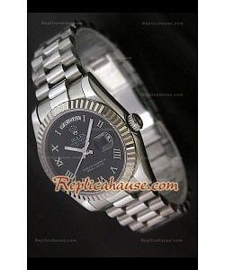 Rolex DayDate Reproducción Reloj Suizo con Esfera de color Negro Números romanos