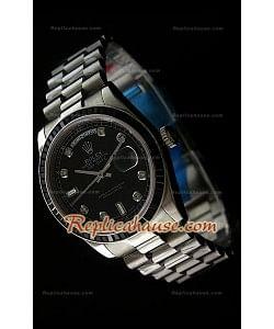 Rolex DayDate Reproducción Reloj Suizo con Esfera de color Negro - Marcadores de Hora en Diamantes