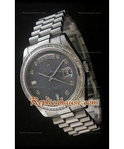 Rolex DayDate Reproducción Reloj Suizo con Esfera Perla  - Marcadores de Hora en Diamantes