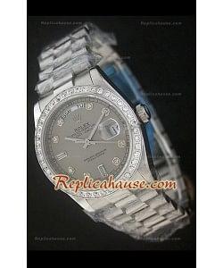 Rolex DayDateReproducción Reloj Suizo con Esfera Gris- Marcadores de Hora en Diamantes