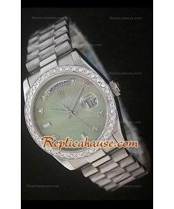 Rolex DayDate Reproducción Reloj Suizo con Esfera Verde Perla