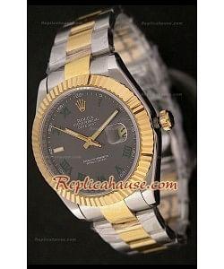 Rolex Datejust Reproducción Reloj Suizo para Hombres en Dos Tonos - Esfera Gris