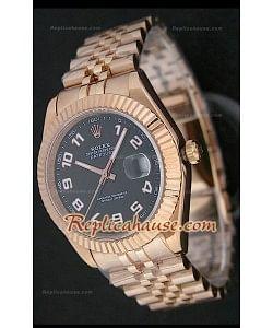 Rolex Datejust Reproducción Reloj Suizo para Hombres en Oro Rosa