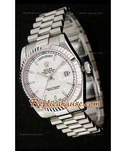 Rolex Daydate Reproducción Reloj Japonés de dos tonos y Esfera Metálica