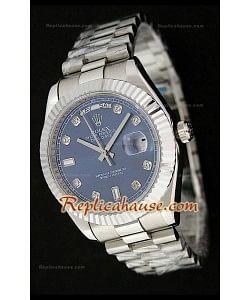 Rolex Daydate Reloj Suizo de Acero Inoxidable con Esfera en Azul oscuro