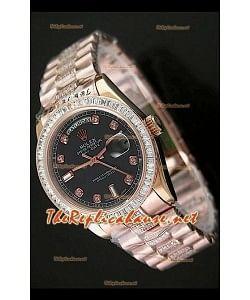 Rolex Daydate Reproducción Reloj Suizo - Reloj mediano de 37MM - Esfera de color Negro Everose