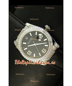 Rolex Réplica Datejust Reloj Suizo – 37MM - Carcasa Negra/Malla