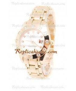 Pearlmaster Datejust Rolex Reloj Suizo en Oro Rosa con Dial Color Perlado - 34MM