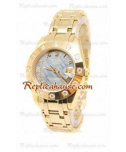 Pearlmaster Datejust Rolex Reloj Suizo en Oro Rosa y Dial Perlado - 34MM