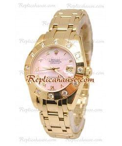 Pearlmaster Datejust Rolex Reloj Suizo en Oro Amarillo con Dial Rosa Perlado - 34MM
