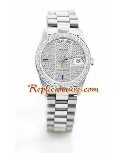 Rolex Réplica Day Date Silver - Diamond