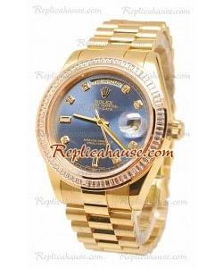 Rolex Day Date II Dial Azul Gold Reloj Suizo Bisel de diamantes 43MM