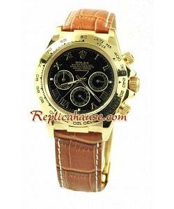 Reloj Rolex Réplica Daytona Oro 18K con correa de cuero