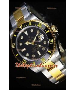 Rolex Submariner Reloj Suizo Dial Negro Marcadores de Hora en DIamantes