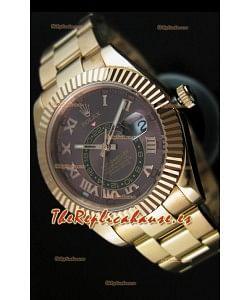 Rolex Sky-Dweller Reloj de Oro Amarillo de 18K, Dial Marrón con Numerales Romanos