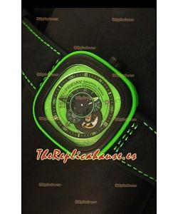 SevenFriday P-32 Movimiento Original Miyota 82S7, Verde y Negro - Calidad Espejo 1:1