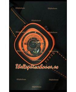SevenFriday P-32 Movimiento Original Miyota 82S7, Naranja y Negro- Calidad Espejo 1:1