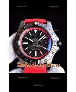 Breitling Chronometre GMT Reloj Réplica Suizo a Esepejo 1:1 con Dial de Carbono y Correa de Goma