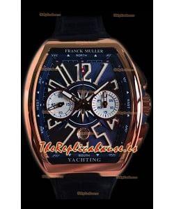 Franck Muller Vanguard Chronograph Reloj Suizo Oro Rosado de 18K Dial Azul