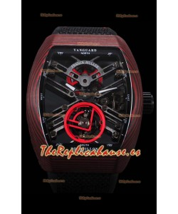 Franck Muller Vanguard Skeleton Tourbillon Reloj Réplica Suizo Rojo Carbono