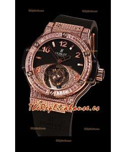 Hublot Tourbillon Solo Bang Sapphires Oro Rosado Reloj Suizo
