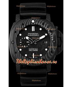 Panerai Submersible Marina Militare Carbotech 47MM Reloj Suizo a Espejo 1:1