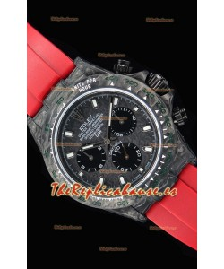 Rolex Daytona DiW Forged Reloj Réplica a espejo 1:1 Caja de Carbono con Correa color Rojo
