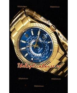 Rolex SkyDweller Reloj Suizo Caja de Oro Amarillo de 18 K - Edición DIW Dial Azul