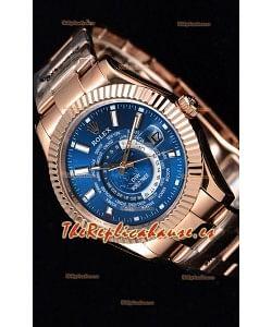 Rolex SkyDweller Reloj Suizo Caja de Oro Rosado de 18 K - Edición DIW Azul Oscuro