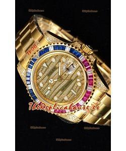 Rolex GMT Masters II Iced out Reloj Suizo Caja 904L en Oro Amarillo
