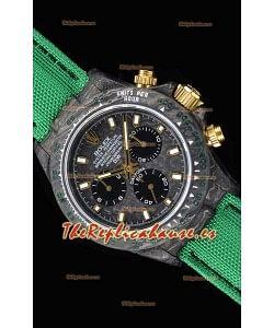 Rolex Daytona DiW Forged Reloj Réplica a espejo 1:1 Caja de Carbono con Correa color Verde de Nylon