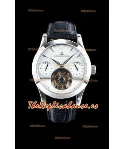 Jaeger LeCoultre Perpetual Tourbillon 904L Caja de Acero Dial Blanco Reloj Réplica Suizo