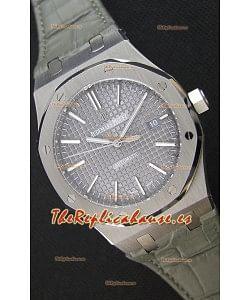 Audemars Piguet Royal Oak 41MM Dial Gris Correa de Piel - Reloj Réplica a espejo 1:1, Edición Última