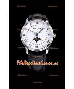 """Blancpain """"Villeret Quantième Complet"""" Reloj Suizo de Acero 904L con Dial Blanco"""
